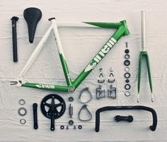 Cinelli green, white and black complete bike parts layout