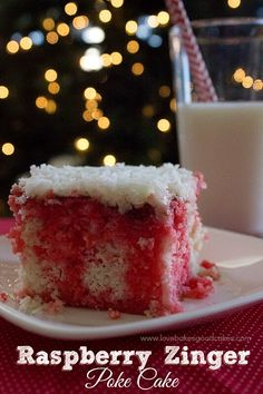 This Raspberry Zinger Poke Cake will be the talk of every potluck, family reunion, and cookout this summer! Gourmet Recipes, Cake Recipes, Dessert Recipes, Dessert Food, Sweet Recipes, Healthy Recipes, Lemon And Coconut Cake, Coconut Cakes, Lemon Cakes
