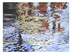 Ripples in the reflective water distort the clear blue skies above. hand-painted on canvas and finished with a light blue edge. From Ren-Wil Canvas Artwork, Framed Artwork, Rose Croix, Hand Painted Canvas, Art Of Living, Living Room, Wall Art Designs, Hand Painting Art