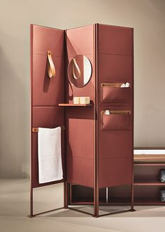 SHADE is a folding screen offering an upscale solution to maximize the bathroom space. It is possible to accessorize it with shelves, leather loop towel holders, mirrors, and object holder pockets. Here displayed in the exquisite medium grain red leather. Partition Screen, Room Divider Screen, Room Dividers, Room Screen, Cool Ideas, My New Room, Interior And Exterior, Furniture Design, Office Furniture