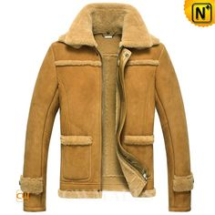 CWMALLS® Burlington Men Shearling Biker Jacket CW861232 - Premium shearling biker jacket for men, featuring special double collar design and lamb fur trim decorations, full zip front with snap buttons, you can stay toasty and handsome in this sheepskin shearling jacket. And free custom made service is available to this jacket.