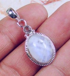 Solid 925 Sterling Silver Moonstone  Pendant Jewelry 36mm (YS14567)