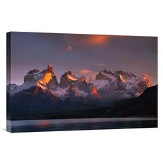 East Urban Home Chile Patagonia Torres del Paine NP 'Cuernos Del Paine at Dawn and Lago Pehoe' Photographic Print on Wrapped Canvas Size: