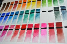 Color chart of Winsor&Newton Professional and Schmincke Horadam watercolors.