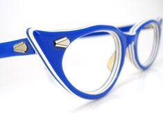 Vintage 50s Sapphire Blue Cat Eye Eyeglasses by Vintage50sEyewear