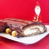 Tronco de Natal de chocolate ralado com creme de baunilha