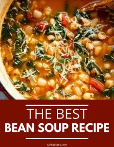 10 Minute Bean Soup is loaded with fiber, protein, and flavor in every single bite. White bean parmesan spinach soup is a must make and a great dish for meal prepping. #bean #soup #easy #quick #spinach #parmesan #souprecipe