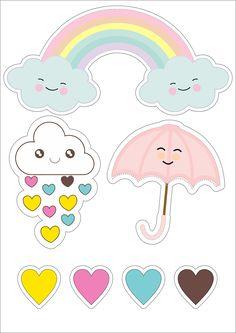 Lindo topo de bolo chuva de amor.  Visite nosso site para encontrar imagens como essa em alta definição Stickers Kawaii, Cute Stickers, Girl Birthday Themes, Baby Birthday, Printable Stickers, Planner Stickers, Diy For Kids, Crafts For Kids, Theme Mickey