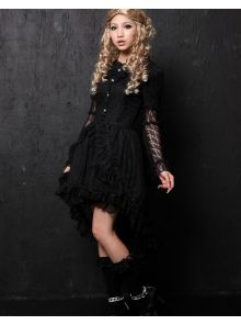 White Cotton Round Neckline multi-layered bell Sleeve asymmetric lace gothic Lolita dress (balck available)