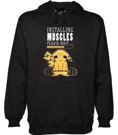 Pikachu installing muscles hoodie