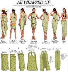 How to tie a dress, beach swim cover up, Pareo, beach cover, sarong Sarong Dress, Scarf Dress, Diy Dress, Sarong Wrap, Sarong Tying, Fashion Sewing, Diy Fashion, Ideias Fashion, Fashion Outfits