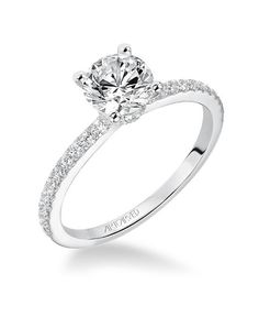 Sybil, Classic Prong Set Diamond Engagement Ring with diamond accented band…