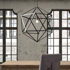 Concrete Walls, Industrial Windows, Statement Chandelier // grey