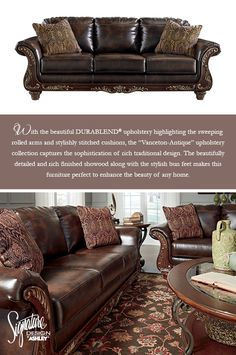 #AshleyFurniture - Enhance your traditional home style effortlessly with the Vanceton Sofa. The rolled arms, showood details, and DURABLEND® fabric work together to give you a classic traditional look you can enjoy all year long. Vanceton Sofa & Loveseat - Living Room Furniture - Signature Design by Ashley - #Sofas #LivingRoom