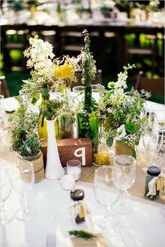 shabby chic centerpiece #weddingdecor #diy #weddingchicks http://www.weddingchicks.com/2014/03/17/shabby-chic-winery-wedding/