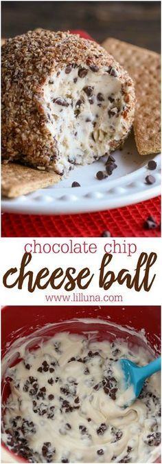 Chocolate Chip Cheese Ball!! A cool, creamy treat filled with mini chocolate chips and covered in chopped pecans!