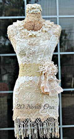 Be Inspired 20 North Ora's Miss Begonia lace dress form - Ohhh!! Doilies! I could so do this!!!