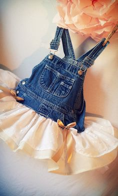 Peaches N Cream Overall Tutu Country Wedding por BabyFetch, $45.00