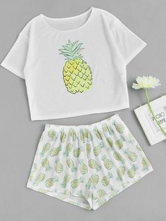 Shop Pineapple Print Tee And Shorts Co-Ord online. - S h e - I n s i d eShop Pineapple Print Tee And Shorts Co-Ord online. SheIn offers Pineapple Print Tee And Shorts Co-Ord & more to fit your fashionable needs. Cute Lazy Outfits, Teenage Outfits, Outfits For Teens, Trendy Outfits, Cute Pajama Sets, Cute Pjs, Cute Pajamas, Girls Fashion Clothes, Teen Fashion Outfits