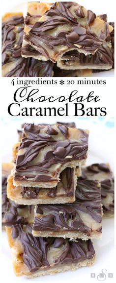 Chocolate Caramel Bars made with just 4 simple ingredients! Easy buttery crust topped with a quick caramel then swirled with melted chocolate.Best #caramel bars ever! #Dessert from Butter With A Side of Bread