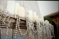 pearls and candles at the wedding of Jacqueline Birr & Jake DiMare