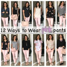 12 Ways to Wear Pink Pants – Just Posted Pink Jeans Outfit, Colored Pants Outfits, Pink Outfits, Fall Outfits, Casual Outfits, Cute Outfits, Fashion Outfits, Colored Jeans, Navy Blazer Outfits