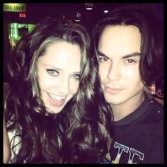 Merritt Patterson (Olivia) and Tyler Blackburn (Caleb) behind the scenes of Ravenswood.