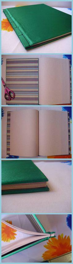 Cuaderno tamaño carta hecho a mano.