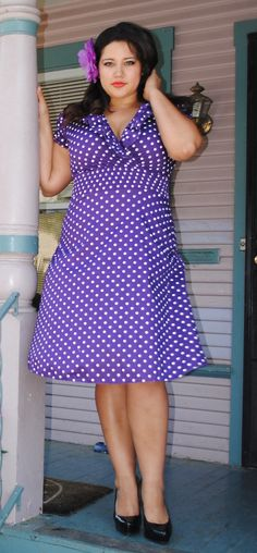 Womens Ruffled V neck Plus Size Dress by HotRodJohnnyDesigns, $38.00