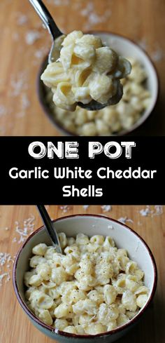 One Pot Garlic White Cheddar Shells - made easy and in under 30 minutes. Great side dish or make it the main course by adding pre-cooked chicken or bacon. This recipe calls for lots of garlic - I used Pop & Cook (get more info here: https://ooh.li/ee911ab) to make it easier on myself. #UltimateKitchenHack #ad