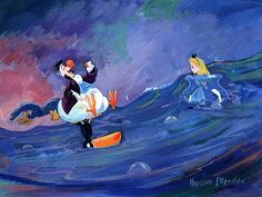 """Dodo-Ahoy"" By Harrison Ellenshaw - Original Mixed Media on Canvas, 9 x 12.  #Disney #DisneyFineArt #AliceInWonderland #HarrisonEllenshaw"