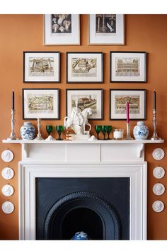 Orange Walls Pentreath and Hall Statffordshire Figurine Ginger Jars and a beautiful classical fireplace mantel. They change the wall color every few years. I believe that it's currently a pale pinkish color. Whatever they paint it is always gorgeous! Paint And Paper Library, English Country Decor, Country Décor, Country Hotel, British Country, British Style, Country Living, French Country, Long Room
