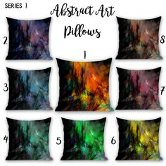 Abstract Art Pillows / Orange / Blue / Pink by WickedSpiritFashion