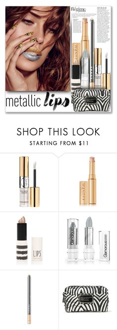 """Gold and Silver Lips"" by mood-chic ❤ liked on Polyvore featuring beauty, Yves Saint Laurent, Wander Beauty, Anja, Topshop, LORAC, Marc by Marc Jacobs and metalliclips"