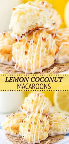 These Lemon Coconut Macaroons are so yummy with their light lemon flavor, chewy coconut and white chocolate bottoms! You'll want to eat them all! Coconut Deserts, Coconut Macaroons, Macarons, Easy No Bake Desserts, Delicious Desserts, Yummy Food, Baking Recipes, Cookie Recipes, Macaroon Recipes