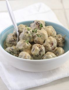 Homemade Party Meatballs with Sweet and Spicy Mustard Cream Sauce #meatballs #recipe #partyfood