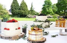 Wedding cake table with red velvet semi naked cakes, cupcakes and Buttercream tiered cakes decorated with fresh leaves and berries Cake Table, Tiered Cakes, Red Velvet, Camembert Cheese, Cake Decorating, Wedding Cakes, Berries, Cupcakes, Table Decorations