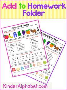 homework folder study sheet for kindergarten Kindergarten Homework Folder, Homework Binder, Preschool Homework, Kindergarten Lesson Plans, Preschool Classroom, Kindergarten Classroom, Homework Folders, Homework Ideas, Classroom Ideas