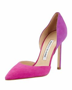 Tayler Bicolor Suede d\'Orsay Pump, Fuchsia/Purple by Manolo Blahnik at Bergdorf Goodman.