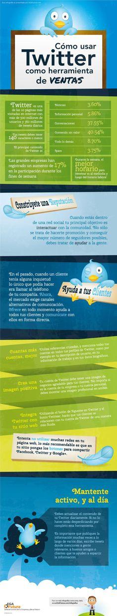 Cómo usar Twitter como herramienta de ventas #infografia #infographic #socialmedia #marketing