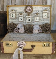 This card box is a vintage suitcase that measures approx. 21 x 13.5 x 7 and is approx. 5.25 deep when opened. Place this case on your gift