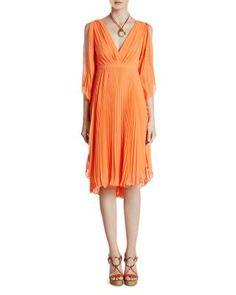 HALSTON HERITAGE Pleated Georgette Dress   Bloomingdale's