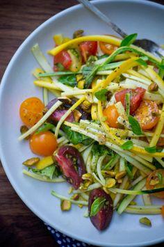 squash, tomato, garlic basil salad, basalmic