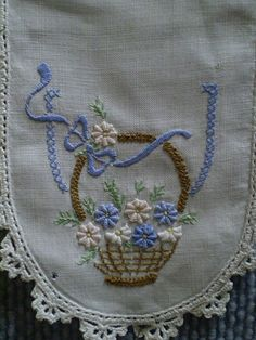 Flower Embroidery - Basket of Flowers on Doiley, Old Gippstown. Embroidery Flowers Pattern, Baby Embroidery, Embroidery Transfers, Hand Embroidery Stitches, Machine Embroidery Patterns, Modern Embroidery, Vintage Embroidery, Embroidery Techniques, Ribbon Embroidery