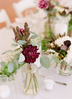 Wedding Flower Arrangements An Affordable Centerpiece Idea We Love: Bud Vase Arrangements - What you'll save on price you certainly won't lose in style. Wedding Vases, Floral Wedding, Wedding Decorations, Wedding Reception, Burgundy Wedding, Small Wedding Centerpieces, Rustic Wedding, Affordable Wedding Flowers, Wedding Ideas