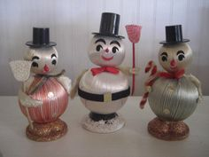 Vintage Christmas Snowmen Made in Japan by sunnydayrainyday, $18.00