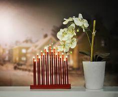 Adventsljusstake, LED, elljusstake med 17 lampor, röd, 3501928