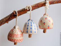Колокольчики керамические расписные - белый,колокольчики керамические