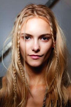 Easy mini braids! Take a little chunk of hair, and braid it. Do this 5 different times around the head. ~Isabelle