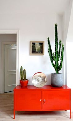 Bright red cabinet with cacti